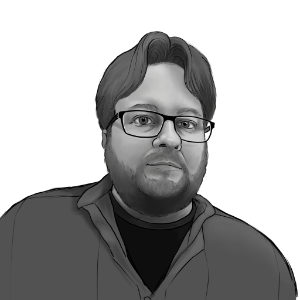 black and white portrait of Michael Van Vleet
